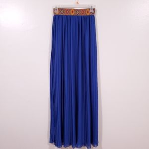 LOVE CULTURE High Waist Embroidery Blue Maxi Skirt